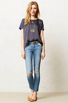 Jeans effiloché à la cheville Mother Looker