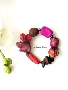 Artisan Jewelry, unique, beaded  stretchband bracelet, handmade claybeads, gift for Her, StudioSabine by StudioSabine on Etsy https://www.etsy.com/listing/113793935/artisan-jewelry-unique-beaded