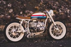 dubbed the \'skyway\', this custom BMW R80 motorcycle is influenced by BMX bikes from the 1970\'s and 1980\'s.