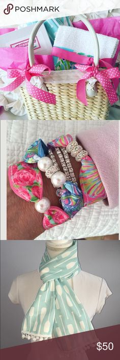 Bracelet Easter Gift Basket Huge savings on this gorgeous gift basket...new in box set of 3 summer fun magnetic rhinestone Pearl bracelets made with conch republic, first impression and shell Abrate designs; gorgeous sailing Pompom  aqua spring scarf and set of 2 blue heaven towels... So much Summer Fun in a basket Accessories