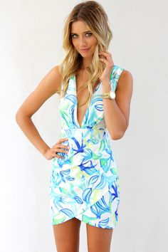 Blue Cocktail Dress - Blue Tropical Print Bodycon Dress | UsTrendy