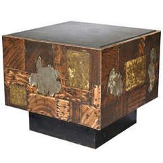 Copper, Bronze and Pewter Patchwork Table with Slate Top by Paul Evans