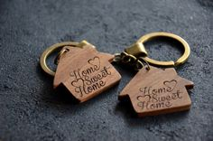 Home Sweet Home Sign Wooden Engraved Key Chain Housewarming Favor New Home decor Gift for Him Her Friend Neighbor Christmas Key Ring  Welcome! We are really happy to see you in our...