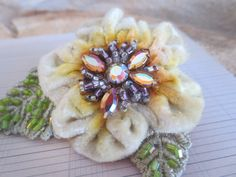 Velvet Ribbon Flower Brooch. Hand Dyed. Vintage Materials. Rhinestones. on Etsy, $22.00 Flower Fabric, Ribbon Flower, May Baskets, Nifty Crafts, Velvet Ribbon, Ribbon Embroidery, Flower Brooch, Fabric Crafts, Rhinestones