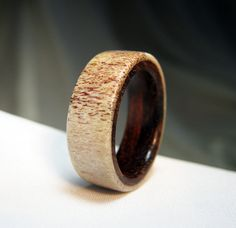 Antler Ring with Wood Lining - Naturally Shed Deer Antler and Cocobolo. Favorite with the red and dark wood!!