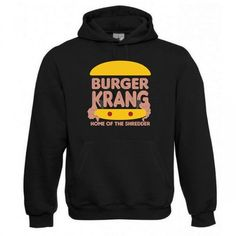 "Kapuzen Sweatshirt ""Burger Krang"" Fruit of the Loom, Beuteltasche, 80% Baumwolle"