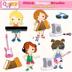 Cute Dilek Girls Playing Music clipart perfect for your craft project, scrapbooking, invitation, web design, paper product, design card and everything else.