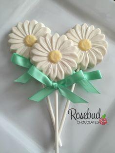 Vanilla, White Chocolate Daisy Lollipop Favors...Flowers www.rosbudchocolates.com