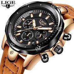 1e18009a6c7 2018 LIGE Mens Relógios de Ouro Marca de Luxo Relógio de Quartzo Dos Homens  Casuais de