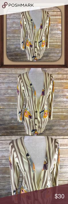 Anthropologie Sparrow 3/4 Sleeve Stripes Cardigan 3/4 Sleeve Light Stripes With Flowers Cardigan. In excellent used condition. Size medium. 30 inches long. 20 inch sleeves. 17 inches arm pit to arm pit without stretching laying flat. Anthropologie Sweaters Cardigans