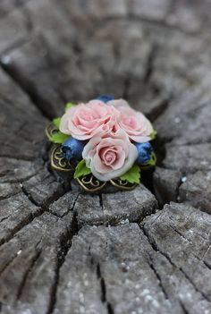 Blush Pink Rose Jewelry with Blueberries Mother brooch gift Dusty Rose Jewelry Botanical Brooch Polymer clay Flower Pink Clay Jewelry