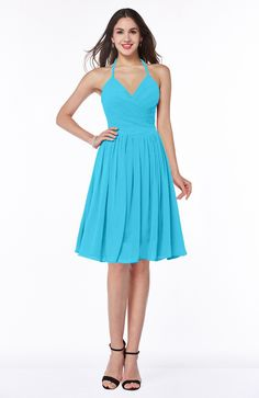 Turquoise Bridesmaid Dress - Sexy A-line Halter Chiffon Knee Length Pleated Plus Size