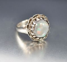 Opal Ring Art Deco Ring Sterling Silver Ring Size 5 by boylerpf