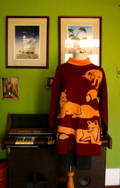 SOMEONE PLEASE BUY THIS FOR ME IMMEDIATELY. Vintage 80s Escada fox Sweater by LEATHERGLACIER on Etsy, $65.00