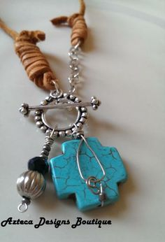 Santa Fe Cross Leather Turquoise Silver Necklace by AztecaDesignsBoutique for $55.00