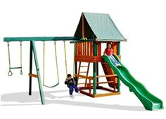 Step by step instructions for a large wooden playset with tower, ladder and slide. Part 1 of 2.