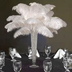 white ostrich feather centerpieces - Yahoo Image Search Results