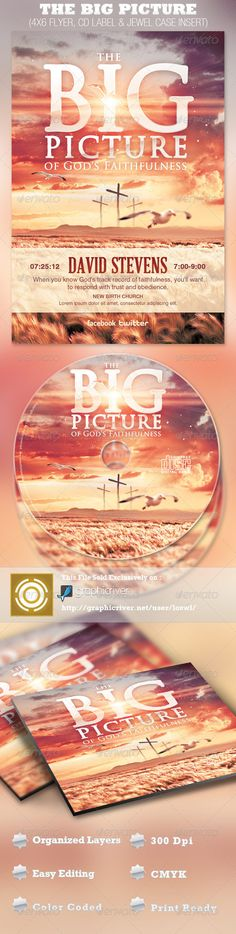 The Big Picture Church Flyer and CD Template - $7.00