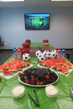We're feeling red, white and fruit during the World Cup action at Petplan #healthy #party #idea