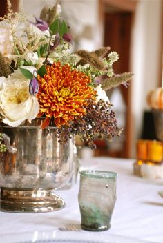 Thanksgiving centerpiece love flowers in old silver!