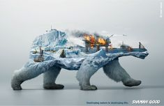 """""""Destroying nature is destroying life"""" – This time Illusion were on assignment to help Robin Wood, the environmental activists, by creating three powerful full CG visuals to raise public awareness of the ongoing destruction of animals' natural habitats. Graphisches Design, Grid Design, Photoshop, Desgin, Double Exposition, Habitat Destruction, Plakat Design, Awareness Campaign, Environmental Art"""