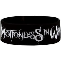 Motionless In White Logo Wristband ($9.47) ❤ liked on Polyvore featuring jewelry, bracelets, motionless in white, accessories, band merch, gothic jewelry, wristband bracelet, white jewelry, goth jewelry and white bangle