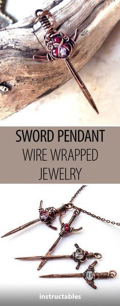 Sword Pendant Wire Wrapped Jewelry #jewelry #pendant