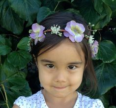Garden Fairy Flower Girl Hair Wreath - lavender and sage green hydrangea, creamy queens annes lace and soft green pip berries on a bark vine on Etsy, $20.00