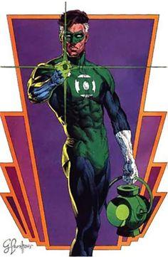 Green Lantern Hal Jordan (DC Comics) over a violet and orange motif