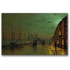 Trademark Fine Art Prince's Dock, Hull, 1882 inch Canvas Wall Art by John Atkinson Grimshaw, Size: 14 x 24, Multicolor