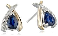 Sterling Silver and 14k Yellow Gold Pear-Shaped Blue Sapphire and Diamond-Accent Earrings *** Click image for more details. (This is an affiliate link) #JewelryDesign