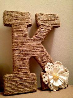 Объемные буквы на свадьбу из ниток