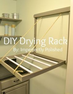 Very cool wall-mounted clothes drying rack that disappears when you close it.