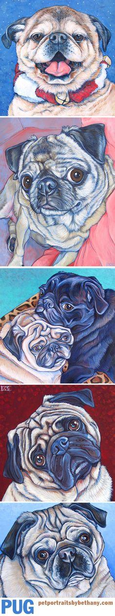Pug Custom Pet Portraits Paintings in Acrylic Paint on Canvas from Pet Portraits by Bethany. #pug #pugs #puglife #dogart #petportrait #custmopetportrait #art