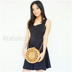 sling bags circle ata rattan carved design handwoven bali
