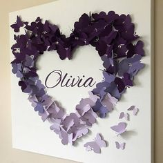 Personalized Purple Ombre Butterfly Wall Art - Made to Order - Butterfly Wall Art - Personalized Butterfly Art - Baby Shower Gift - Nursery Butterfly Wall Art, Butterfly Crafts, Butterfly Baby, Diy Wall Art, Diy Art, Creative Crafts, Fun Crafts, Flower Shadow Box, Paper Crafts Origami