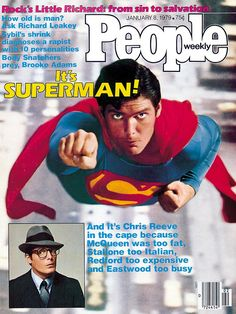 """January People Magazine promoting Christopher Reeve """"Superman"""" movie due to be released in the U. First Superman, Superman Movies, People Magazine, Life Magazine, Christopher Reeve Superman, Hollywood Scenes, Action Comics 1, Superman Man Of Steel, Nerd"""