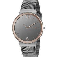 Skagen Freyja Analog Display Analog Quartz Grey Watch ($140) ❤ liked on Polyvore featuring jewelry, watches, gray watches, dress watch, quartz dress watch, quartz wrist watch and dial watches