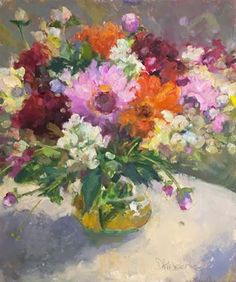 """Daily Paintworks - """"A Glorious Gathering - Floral Painting by Kirkeeide"""" - Original Fine Art for Sale - © Deb Kirkeeide"""