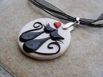 Black Cats in Love Polymer Clay Pendant Necklace