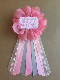 Pink Elephant Baby Shower Mommy-to-be Flower Ribbon by afalasca