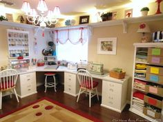 l shaped craft desk our home away from home craft room halfway done reveal u shaped craft desk Sewing Room Design, Craft Room Design, Sewing Spaces, My Sewing Room, Sewing Rooms, Sewing Studio, Sewing Room Organization, Craft Room Storage, Storage Ideas