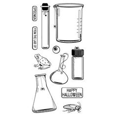 Inkadinkado Halloween Clear Stamps Test Tubes
