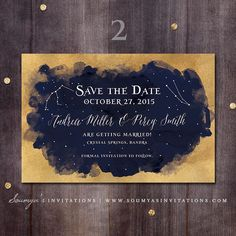 Gold and Navy Blue Wedding Save the Date, Starry Night Constellation Wedding…