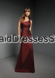 A-line One Shoulder Satin Burgundy Floor-length Bridesmaid Dress(BM0100363)