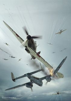 Vintage Aircraft Commisioned illustration for Battle of Britain Combat Archive Vol. 1 by Simon Perry. model by Wojciech Kliment Niewęgłowski. Scene, textures and illustration by Piotr Forkasiewicz. Aviation Theme, Aviation Art, Ww2 Aircraft, Military Aircraft, Luftwaffe, War Thunder, Aircraft Painting, Airplane Art, Ww2 Planes