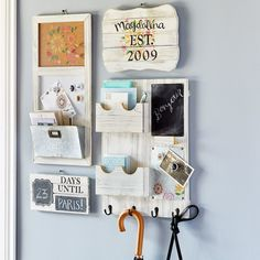 Organize easily when you make this DIY Natural Home Wood Command Center (Small Wood Crafts Accent Walls) Family Organization Wall, Organization Station, Office Supply Organization, Family Organizer, Kitchen Organization, Calendar Organization, Command Center Kitchen, Family Command Center, Kitchen Message Center