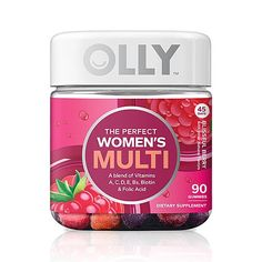 OLLY Perfect Women's Multivitamin Gummy Supplement with Biotin & Folic Acid, Blissful Berry, 90 Gummies Day Supply) Vitamin A, Multi Vitamin, Multivitamin Supplements, Best Multivitamin, Protein Supplements, Vitamins For Metabolism, Olly Vitamins, Good Multivitamin For Women, Good Vitamins For Women