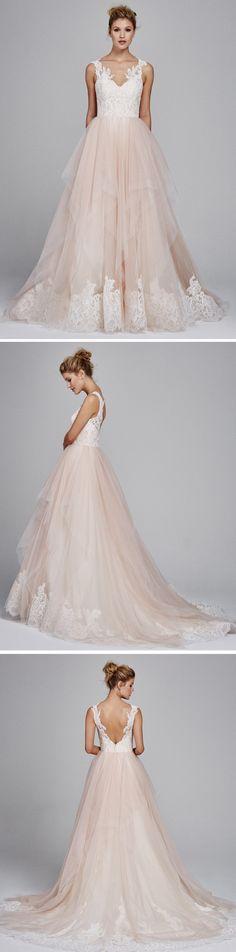Love the blush hues of this romantic wedding dress by Kelly Faetanini!