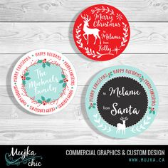 christmas-tags-stickers-merry-mujka-3 Custom Christmas lettering and word art. www.mujka.ca